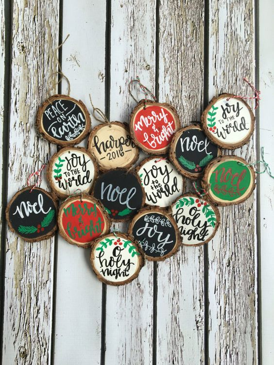 traditional black, red, green and white calligraphy wood slice ornaments for Christmas