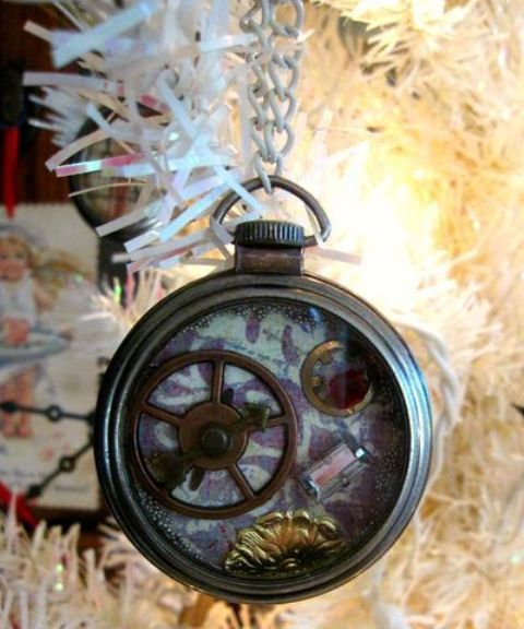 a pocket watch with gears can be used for tree decor or other items