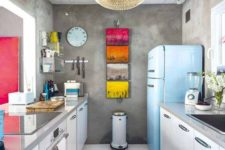 07 add touches of color with artworks and a bold fridge, for example, Smeg