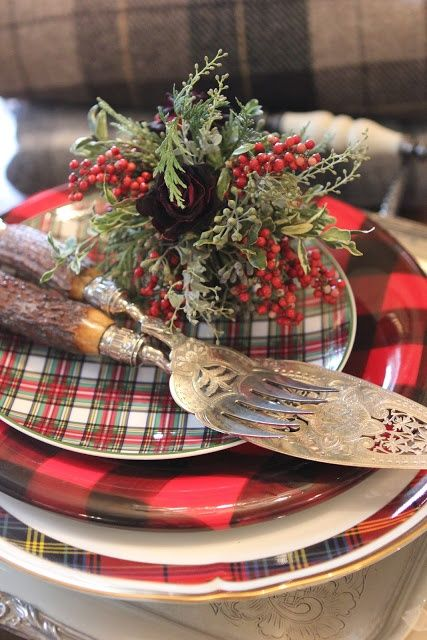 plaid and tartan plates are great for any kind of Christmas tablescape
