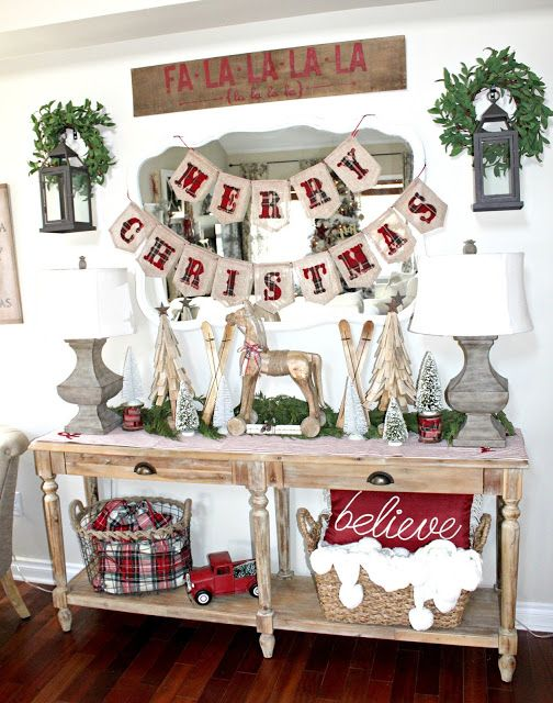plaid red garland a matching basket and a red sign to add vintage rustic chic - Vintage Farmhouse Christmas Decor