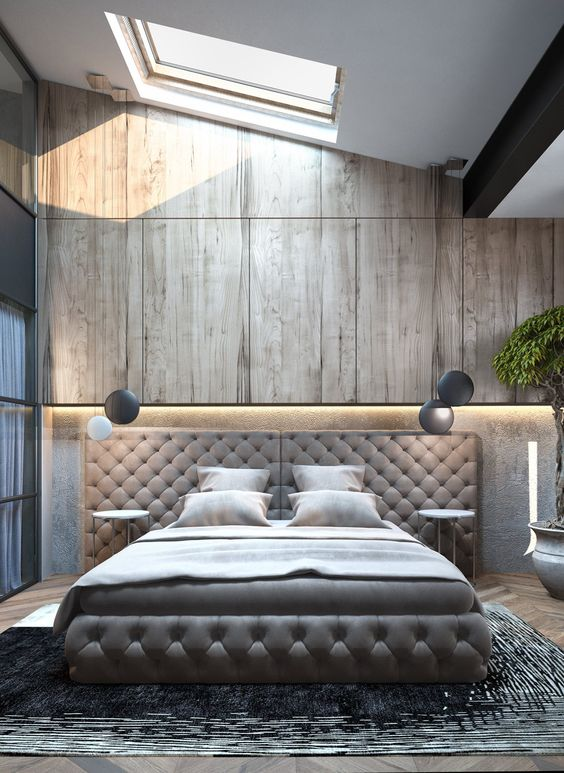 a skylight, windows, headboard lights and two hanging lamps on each side are enough