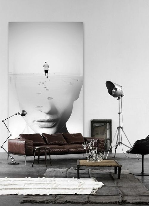 an oversized artwork is a great idea for a whole blank wall to make it bolder