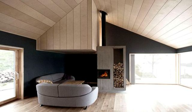 black walls, dove grey and light-colored wood are a gorgeous combo for a cabin
