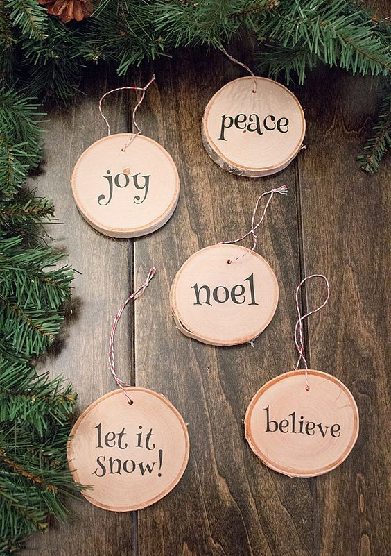 cute printed wood slice ornaments with cute letters are easy to DIY and look neutral