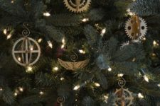 10 steampunk 3D gear ornament set is a gorgeous idea to decorate a tree and make it stand out