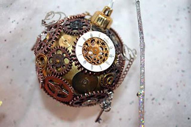 a gear covered bauble steampunk ornament for decorating a Christmas tree