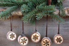 11 cute wood burnt snowlflake ornaments look rustic and very cute