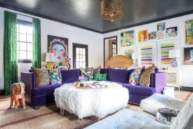 a bold violet corner sofa for an eclectic and colorful space