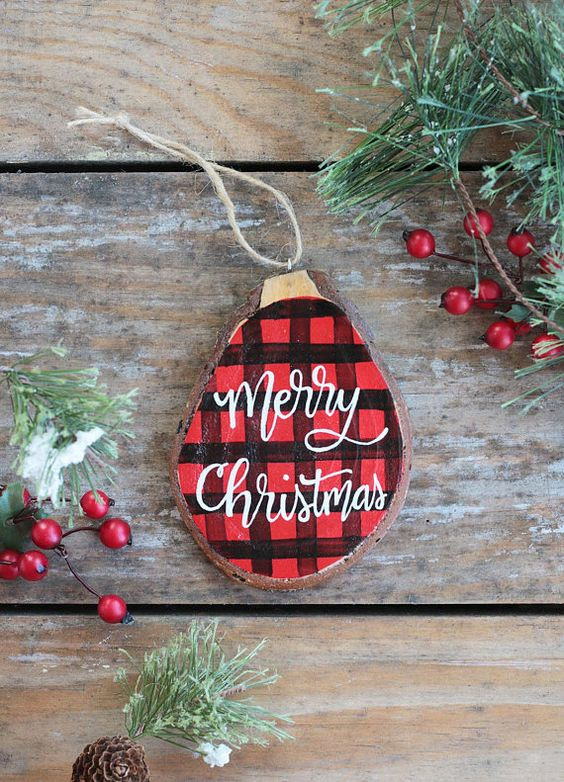 a cute painted plaid Christmas ornament with calligraphy is a chic and modern idea to try