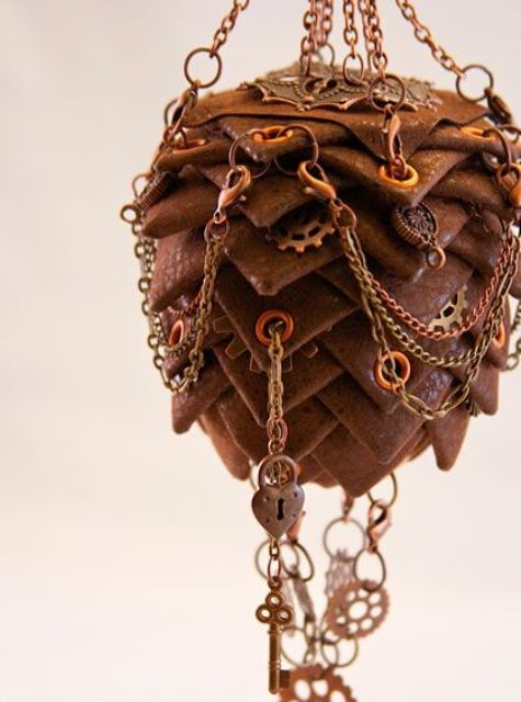 a leather Christmas ornament with lots of gears, keys and chains will look really bold