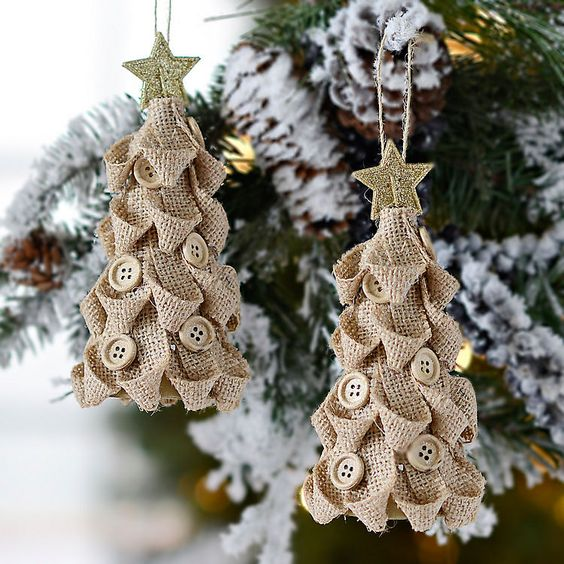 burlap christmas tree ornaments with neutral buttons and glitter stars on top - Burlap Christmas