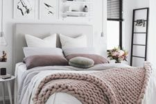 13 white and grey bedding with blush and dusty pink touches