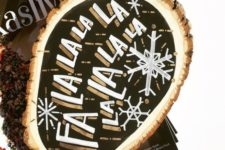 14 a black, white and gold Christmas sign with snowflakes and chic gilded touches