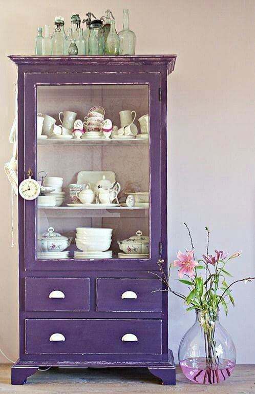 a shabby chic violet cupboard - just take a vintage piece and paint it violet