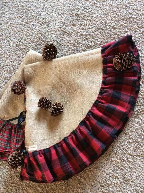 burlap and plaid Christmas tree skirts are a cute and cool idea that involves some sewing