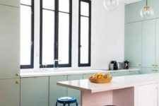 15 a touch of green and pink and a mosaic black and white tiles to highlight the kitchen zone