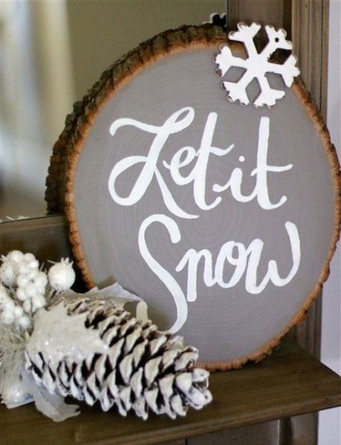 a large Let It Snow sign in grey with a snowflake is great for mantel or console decor
