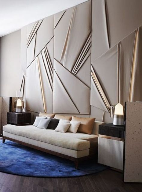 add geometry and a dimensional feel to your living room with such decorative panels