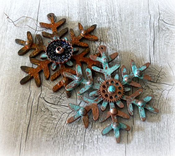 patina metal snowflakes can be used for displays, garlands and as ornaments