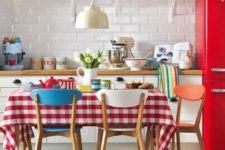17 some patterned textiles will be a nice idea to add a retro feel to your kitchen without spending much money