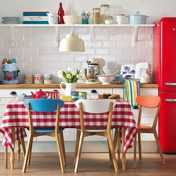 some patterned textiles will be a nice idea to add a retro feel to your kitchen without spending much money