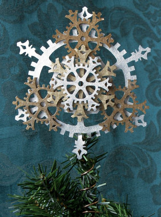 a cool felt gear snowflake tree topper is a great idea for a steampunk tree