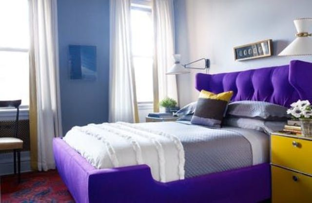 an ultra violet upholstered bed for raising the mood and for a colorful touch