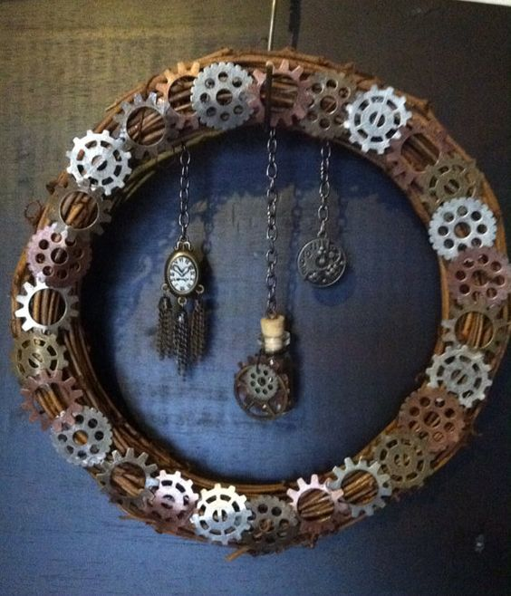a steampunk wreath with fears and vintage pocket watches can be easily DIYed anytime