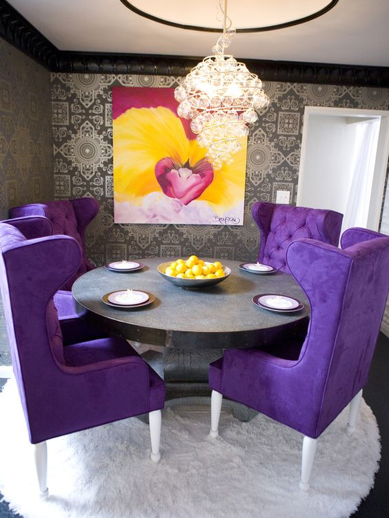 chic violet upholstered chairs to make your dining area unique