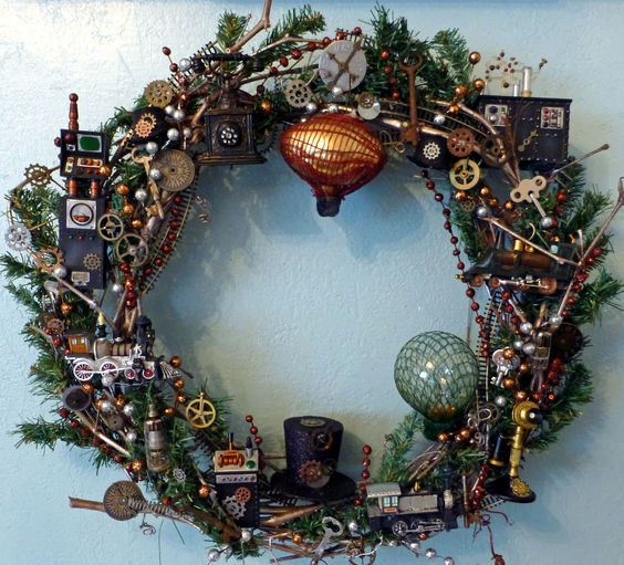 a creative steampunk wreath with gears, top hats, hot air balloons, robots and so on