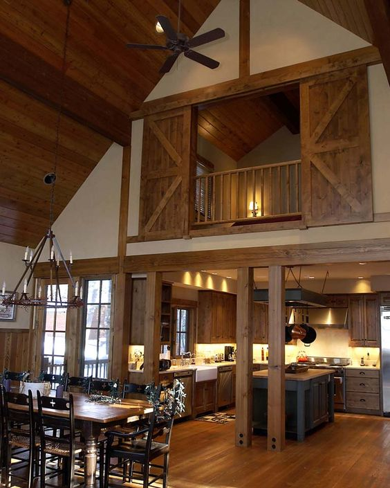 a real barn home with light colored wood on the floor, ceiling and barn doors