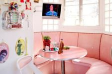 22 a small pink retro diner nook in the kitchen will add color to it and looks very wlecoming