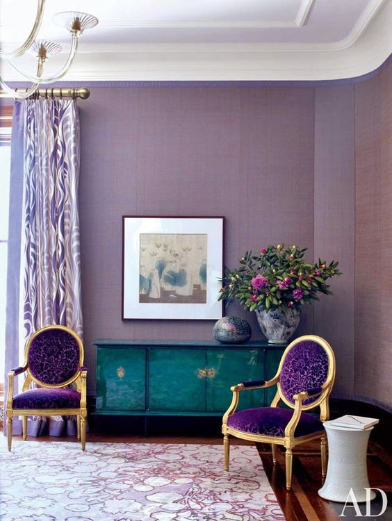 refined violet chairs with gold framing look stunning in any living room