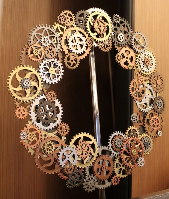 a gorgeous metal gear steampunk wreath is what you need for unique space decor