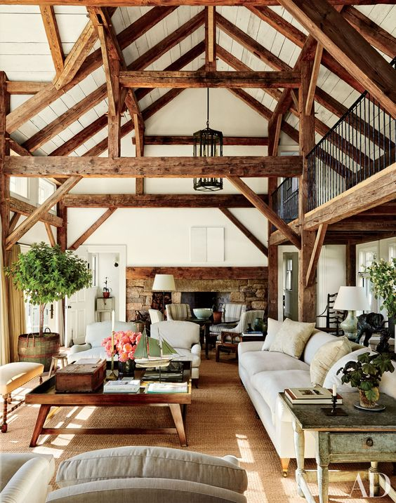 rich-colored wooden beams here add dimension and coziness to the space