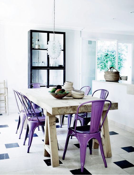 ultra violet metal chairs are a bold idea instead of usual ones