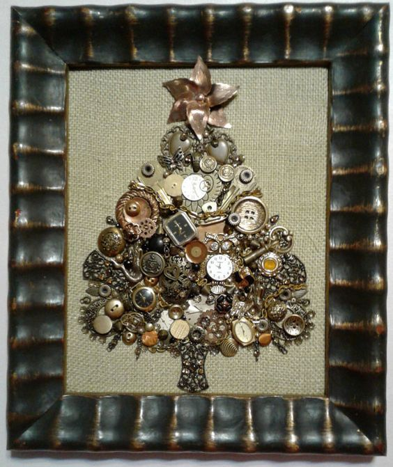 a steampunk Christmas tree artwork of keys, buttons, gears and little watches