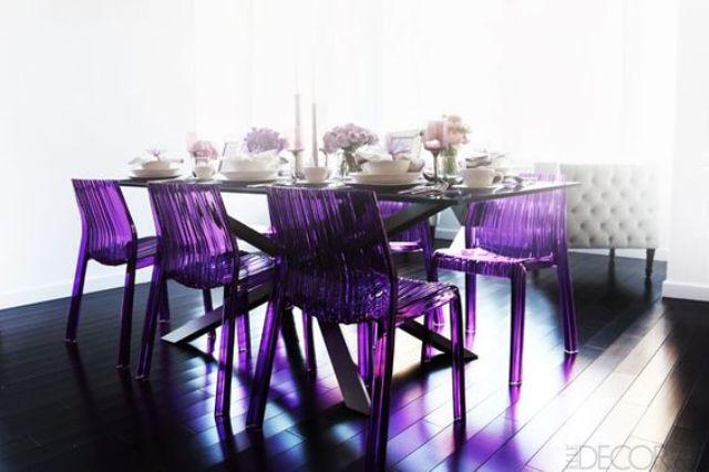 violet acrylic dining chairs will make a bold statement in your dining space