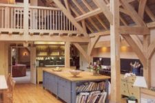 25 light-colored wood for beams, wall, floors, ceiling and even furniture is traditional for barns