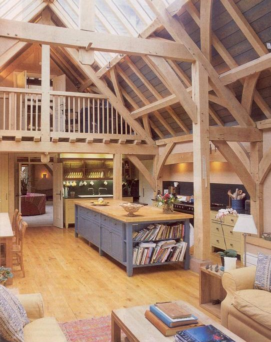 light-colored wood for beams, wall, floors, ceiling and even furniture is traditional for barns