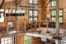living space with exposed wood beams