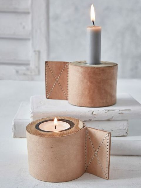leather candle holder covers are great for industrial interiors