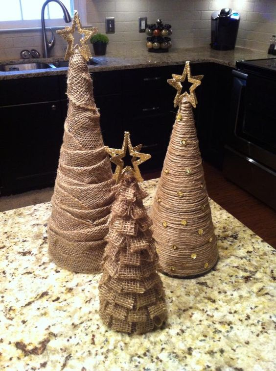 tabletop burlap and twine Christmas trees with beads, glitter stars for holiday decor