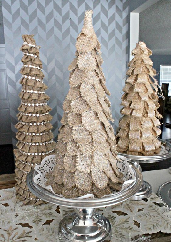 tabletop burlap Christmas cone trees with rhinestones and petals