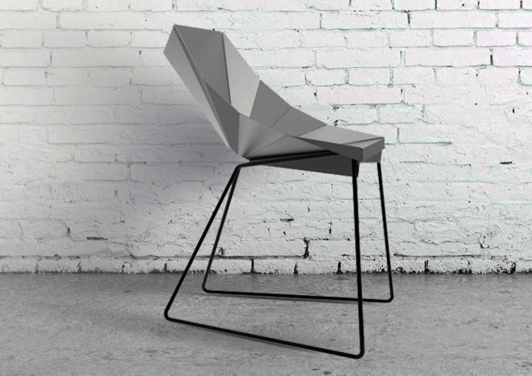 The Origami Chair is a piece that is inspired by the famous paper folding art and looks sharp and bold