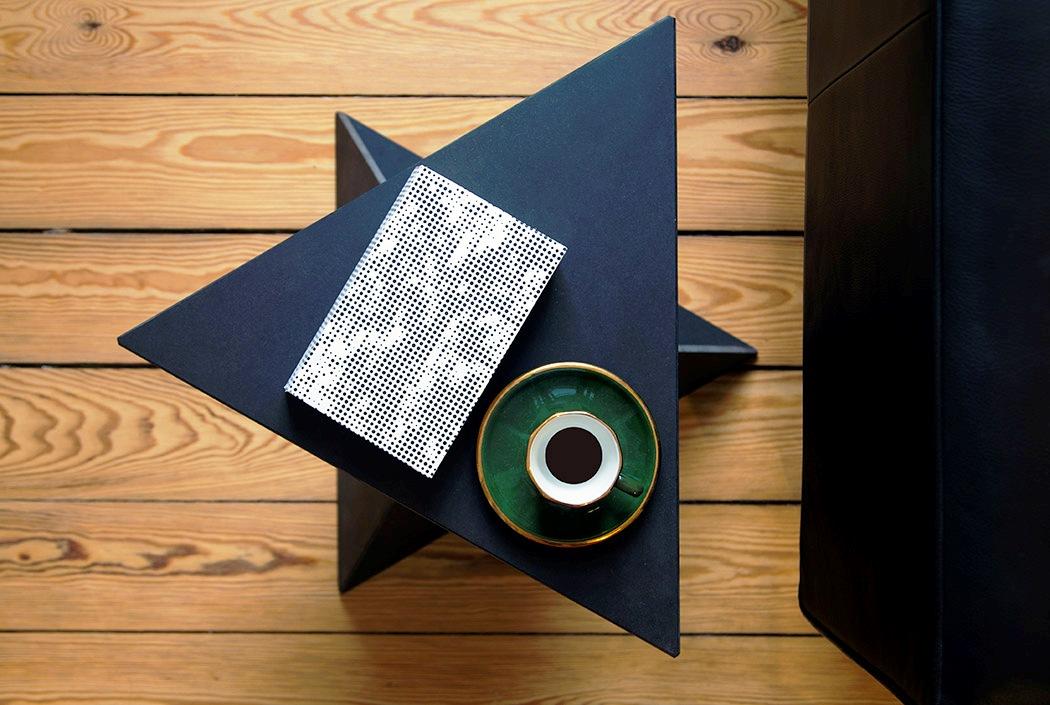 modern side table with a geometric shape