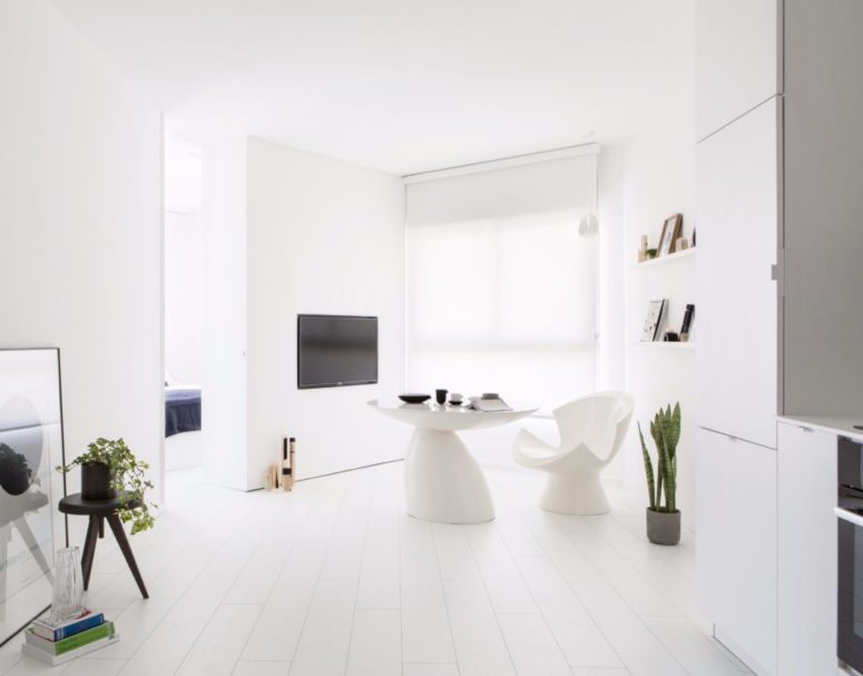 This small all white apartment is done in minimalist style and features everything necessary for the owners