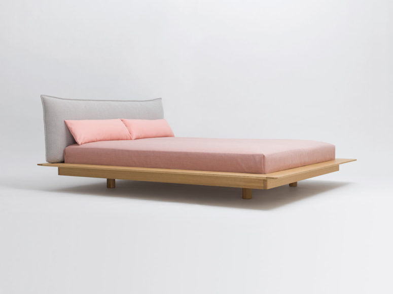 YOMA bed is inspired by Japanese futons for sleeping and shows a clear and cool design in Japandi style