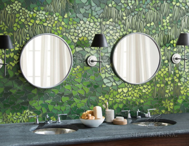 The mosaics is inspire by nature and looks like a mythical garden that is always in bloom